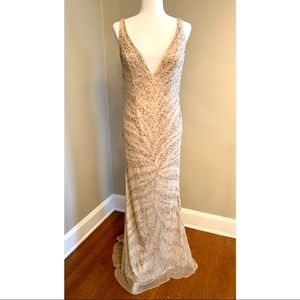 Beaded Champagne Formal Gown